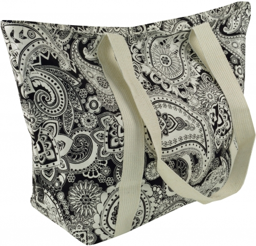 Shopping bag, handbag, shopper with paisley print - black/white Paisley 2 - 30x40x15 cm