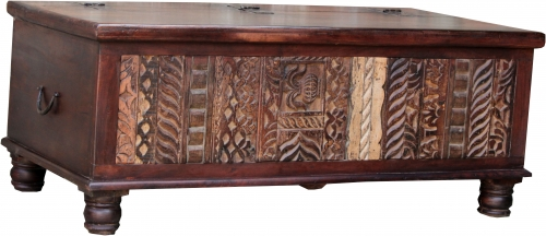 Antique wooden box, wooden chest, coffee table, solid wood coffee table, elaborately decorated - Model 16 - 50x120x60 cm