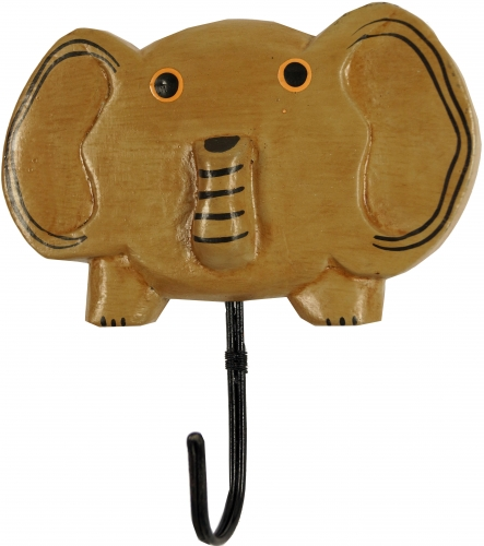 Colourful wooden coat hook, wall hook, coat hook - Elefant 2 - 15x13x1,5 cm