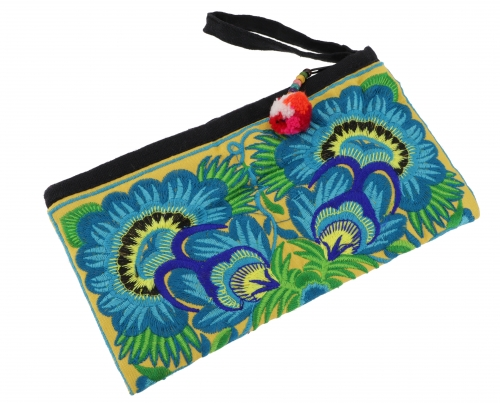 Cosmetic bag with folklore embroidery - turquoise/yellow - 10x20 cm