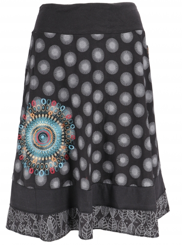 Knee-length, swinging skirt - black/white