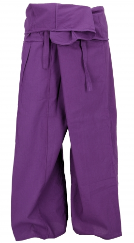 Thai fisherman pants in cotton, wrap pants, yoga pants - M/L purple