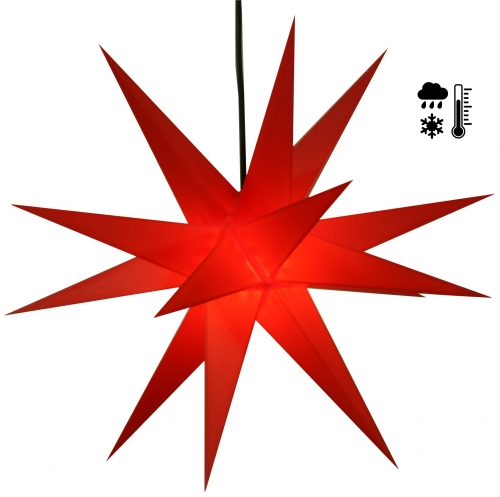 Sturdy weatherproof 3D poinsettia, outdoor star, plug-in star for garden balcony Ø 60 cm, with 20 tips, incl. 4 m outdoor cable - hard plastic red