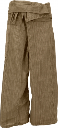 Thai fishing trousers made of striped woven fabric, wrap trousers, yoga trousers - M/L brown/light brown