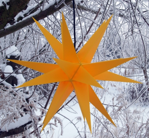 LED Melchior Outdoor II yellow, 3D outdoor star Ø 60 cm, with 20 tips, incl. 4 m outdoor cable