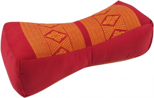 Neck cushion, neck support Thai cushion Kapok - red/orange - 11x14x32 cm