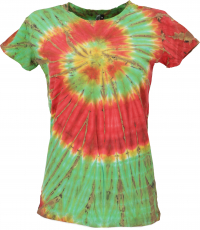 Ladies Batik T-shirt, Tie Dye Goa Shirt - green/orange