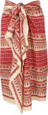 Lightweight Pareo, Sarong, Hand Printed Cotton Cloth - Red Combin..