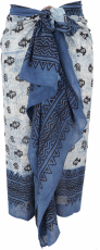 Lightweight Pareo, Sarong, Hand Printed Cotton Cloth - Blue Combi..