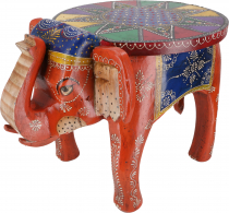 Vintage stool, elephant shaped flower bench - orange