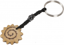 Ethno Tibet Keychain, Engraved Bag Tag - Sun Spiral