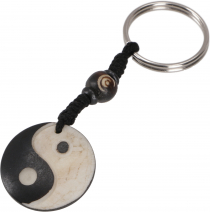 Ethno Tibet Keychain, Engraved Bag Tag - Ying Yang