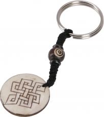 Ethno Tibet Keychain, Engraved Bag Tag - Endless Knot/White