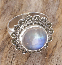 Boho silver ring, large floral silver ring - moonstone