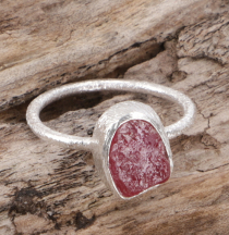 Frosted silver ring with natural semi-precious stone - ruby quart..