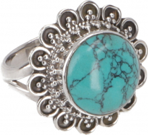 Boho silver ring, large floral silver ring - turquoise