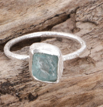 Frosted silver ring with natural semi-precious stone - aquamarine