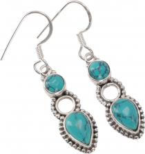 Boho silver earrings, Indian earrings, silver earring - turquoise