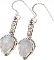 Ornate Boho Silver Earring, Indian Gemstone Earrings - Moonstone