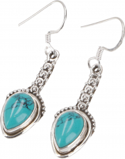 Ornate Boho Silver Earring, Indian Gemstone Earrings - Turquoise