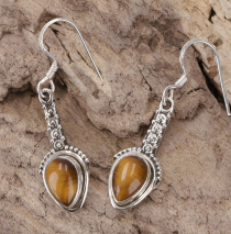 Ornate Boho Silver Earring, Indian Gemstone Earrings - Tiger Eye