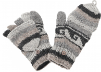 Gloves, hand knitted folding gloves, finger gloves - model 2