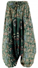 Children`s harem pants, harem pants, Aladdin pants - dark green