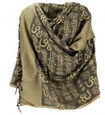 Pashmina Viscose Scarf/Stole with OM Pattern - yellow