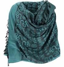 Pashmina viscose scarf/shawl with OM pattern - petrol