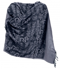 Pashmina Viscose Scarf/Stole with OM Pattern - black