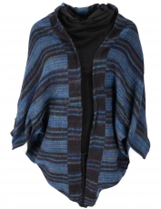 Cocoon Cardigan, open jacket in overzise shape - navy blue