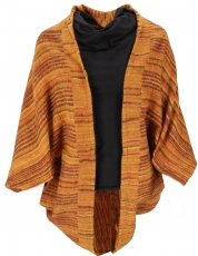 Cocoon Cardigan, open jacket in overzise shape - mustard/coffee