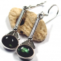 Ethno earrings, indian boho silver earrings - labradorite