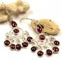 Indian silver earrings Bollywood style, Boho earrings - Garnet