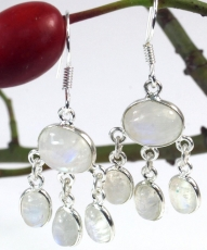 Indian silver earrings Bollywood style, boho earrings - moonstone