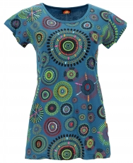 short sleeve tunic, embroidered longtop mandala - petrol