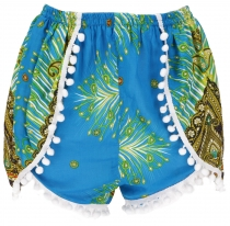 Light pantys, print shorts with pom-poms - turquoise