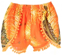 Light pantys, print shorts with pompons - orange