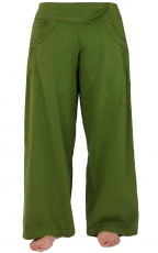Comfortable palazzo trousers, Marlene trousers - olive green