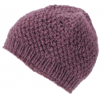 Hand knitted wool hat, knitted hat in virgin wool - - lilac