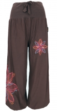 Wide pluderhose with wide waistband and flower embroidery - dark ..