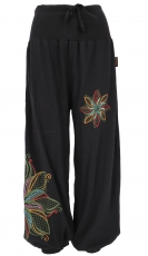 Wide pluderhose with wide waistband and flower embroidery - black