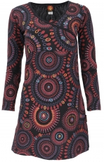 Hippie mini dress Boho chic, long sleeve tunic Mandala - black/re..