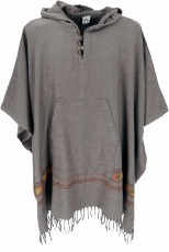 Poncho Hippie chic, warm Andean poncho - taupe
