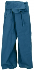 Thai cotton fisherman pants, wrap pants, yoga pants - M/L petrol
