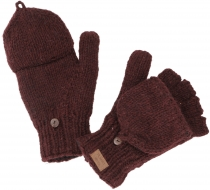 Gloves, hand knitted folding gloves, wool gloves plain - bordeaux