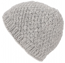 Hand knitted wool hat, knitted hat in virgin wool - light grey