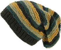 Beanie cap, striped knitted cap, hand knitted Nepal cap - olive