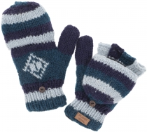 Hand knitted gloves, folding gloves Nepal, wool gloves - blue