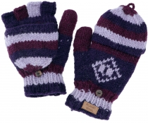 Hand knitted gloves, folding gloves Nepal, wool gloves - purple